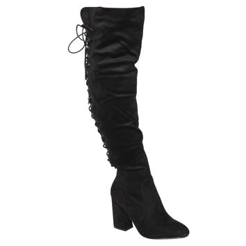 Women's Back Lace Up Side Zipper Block Heel Over The Knee High Boots