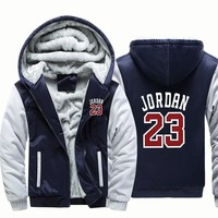 Winter Warm Thick Plus Design Men 2018 Baseball Hoodies Stylish Jordan 23 Printed Novelty Slim Jacket Jordan Hip-hop Male Hoodie