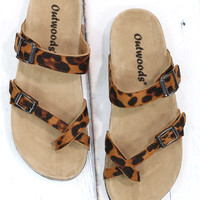 Toe Strap Bork Slide On Sandals Suede {Leopard}