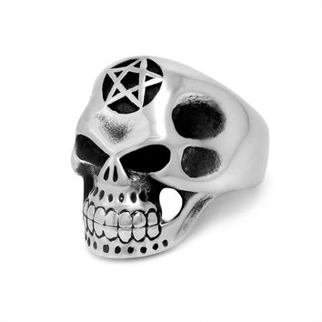 Stylish New Arrival Gift Shiny Strong Character Titanium Men Punk Jewelry Ring