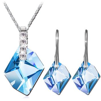 """QIANSE """"Aurora"""" Jewelry Set Made with Blue SWAROVSKI Crystal, Pendant Necklace Hoop Earrings Set, women fashion jewelry set, gifts for her, gifts for mom, march birthstone"""