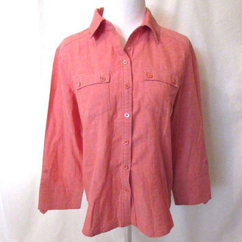 Chico's Shirt Blouse Women's 0 (S) Red Button Front Long Roll Sleeve Pockets