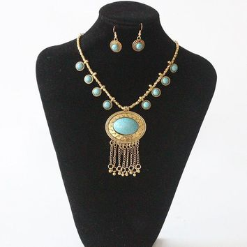 Turquoise Blue Eyes Long Necklace with Matching Earrings on Gold Chain | Khadijah