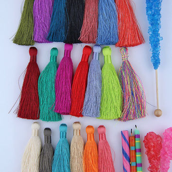 "Silky Luxe Tassels New SPRING Pantone Colors, Handmade Long Tassels, Designer Jewelry Making Supply, 3.5"", You Choose 3 Colors"