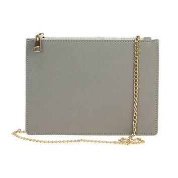 Grey Saffiano Zip Top Clutch With Strap