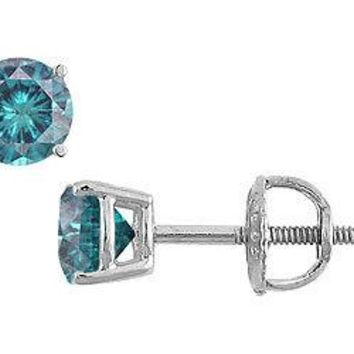 Blue Diamond Stud Earrings : 14K White Gold - 0.50 CT Diamonds