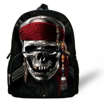 12inch Fashion Skull Bag Black Pirates of the Caribbean Backpack Jack Sparrow Skull Heads Skeleton Backpack Kids Boy SchoolBag