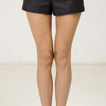 Sporty Pleather Shorts - Black