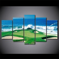"5 Panel Golfing Golf Course Green Wall Art Panel Print on Canvas - 40"" wide"