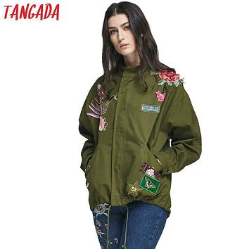 Tangada Fashion Women Phoenix Floral Embroidery Rivet Bomber Jacket Coat Amy Green Pockets Casual Long Sleeve Loose Brand Mujer