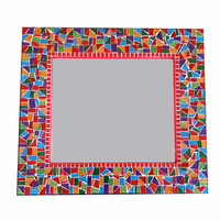 Red Multicolored Mosaic Mirror