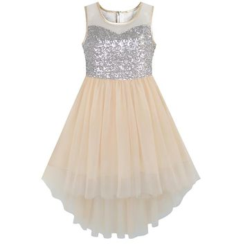 Sunny Fashion Flower Girl Dress beige Sequined Tulle Hi-lo Wedding Party Dress 2018 Summer Princess Dresses Clothes Size 7-14