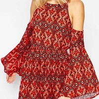 Abercrombie & Fitch Boho Pattern Cold Shoulder Dress
