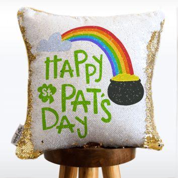 St. Patrick's Day Mermaid Pillow w/ Reversible White & Gold Sequins | COVER ONLY (Inserts Sold Separately)