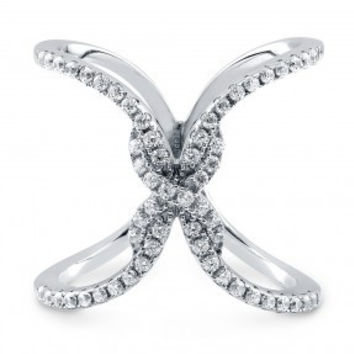 "Sterling Silver Cubic Zirconia CZ Criss Cross ""X"" Ring 0.87 ct.tw"