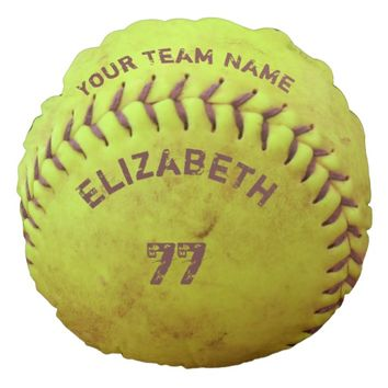 Softball Dirty Name Team Number Ball Pillow Round Pillow