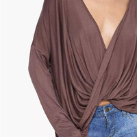 Deep V-Neck Loose Asymmetrical Shirt