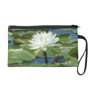 White Lotus Wristlet Purse