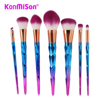 7pcs/set Rainbow Hair Diamond Cosmetic Makeup Brushes Set Foundation Eye shadow Blusher Powder Unicorn Blending Make up Brush