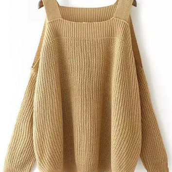 Khaki Off-Shoulder Knit Long Sleeve Sweater