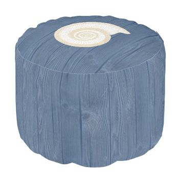 Seashell Beach Blue Wood Pouf Seat Round Pouf