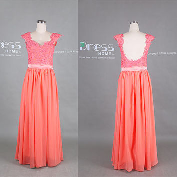 Coral Lace Cap Sleeve Open Back Long Prom Dress/Chiffon Flowy Prom Dress/Long Lace Coral Bridesmaid Dress/Sexy Girls Party Dress DH358
