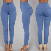 High waist Slim large size women's jeans blue