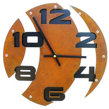 Slice II, Laser Cut Wall Clock, Rustic, Circle, Design, Farmhouse, Silent Ticking, Distressed, With Numbers, Feng Shui, Metal Art, 10 Inch