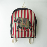 elephant hippie backpack, boho school bag,red stripe bag,bohemian coachella bag, weekender bag gift idea, christmas gift idea, BE01