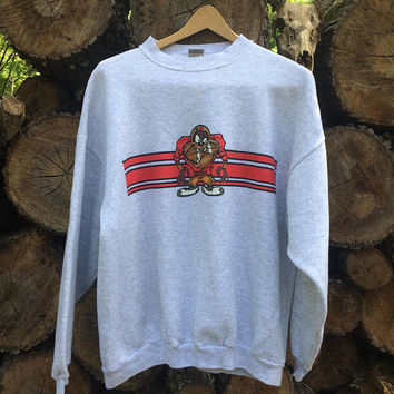 Vintage Looney Tunes Taz Football Crewneck Sweatshirt Sz XL Pratically New!