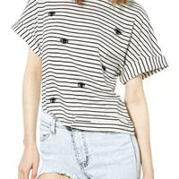 Black And White Stripe Eye Print Short Sleeve T-shirt