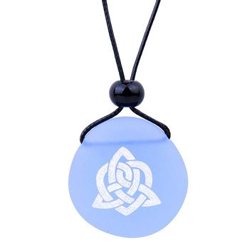 Amulet Frosted Sea Glass Stone Magic Celtic Triquetra Knot Good Luck Powers Sky Blue Adjustable Necklace
