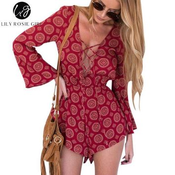 LMFIJ6 Lily Rosie Girl Boho Red Floral Sexy Lace Up V Neck Romper Playsuit Women Autumn Hollow Out Overalls Backless Short Jumpsuit
