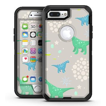 Curious Green and Blue Dinosaurs - iPhone 7 Plus/8 Plus OtterBox Case & Skin Kits