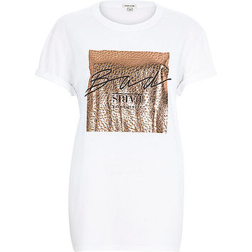 River Island Womens White rose gold foil print oversized t-shirt