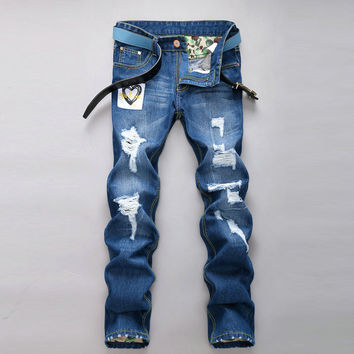 Ripped Holes Baggy Jeans Strong Character Korean Jeans [6541762371]