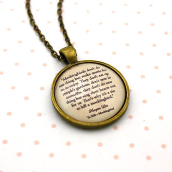 To Kill A Mockingbird, 'It's A Sin To Kill A Mockingbird', Harper Lee Quote Necklace or Keychain