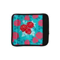 "Anneline Sophia ""Summer Rose Red"" Blue Aqua Luggage Handle Wrap"