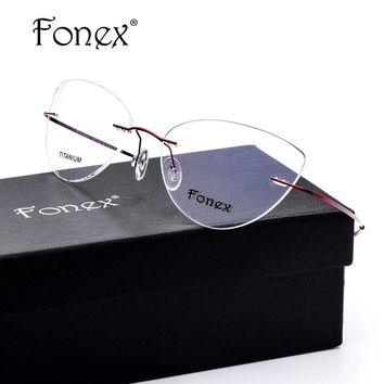5d93b5fa497ec FONEX No Screw 2017 Cat Eye Rimless Prescription Glasses Frame Women Titanium  Eyeglasses Myopia Optical Frames