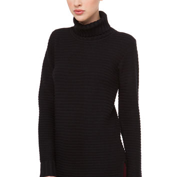 The Outcome Ribbed Sweater - Black