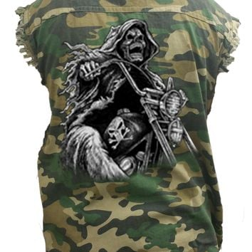 Men's Camo Sleeveless Denim Shirt Grim Reaper Biker Death Motorcycle Skeleton Skull Denim Vest