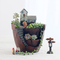 New Hot Resin Cacti Succulent Plant Flower Bed Pot Box Basin Creative Gifts Planter Home Garden Desk Decorations