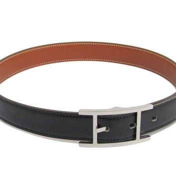Hermes Quentin Men's Leather Belt Black,Gold 70 BF307994