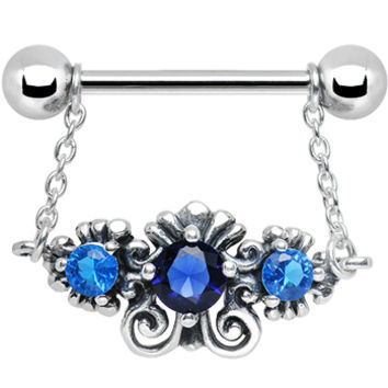925 Silver Sophisticated Symmetry Three Blue CZ Silver Nipple Ring | Body Candy Body Jewelry