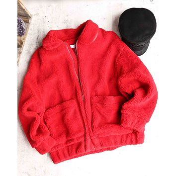 zip up teddy bear jacket - red