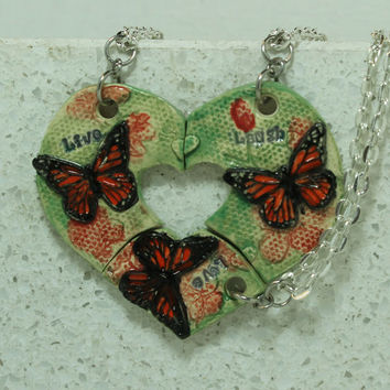 Friendship Necklaces Set of 3 Aromatherapy pendants Live Laugh Love Butterflys