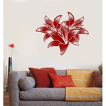 Wall Vinyl Decal Sticker Hibiscus Beautiful Tropical Flowers Decor Unique Gift (n1252)