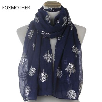 Dropshipping 2017 New Design Brand Fashionable Ladies White Navy Shiny Bronzing Silver Metallic Mulberry Tree Long Scarf Gifts