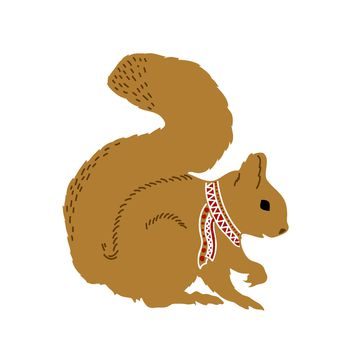 Colorful Contemporary Squirrel in a Knit Scarf Hand Embroidery Pattern