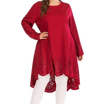 Asymmetrical Long Tunic Top Dress With Eyelet Holes